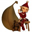 Elf girl as a Christmas help — Stock Photo