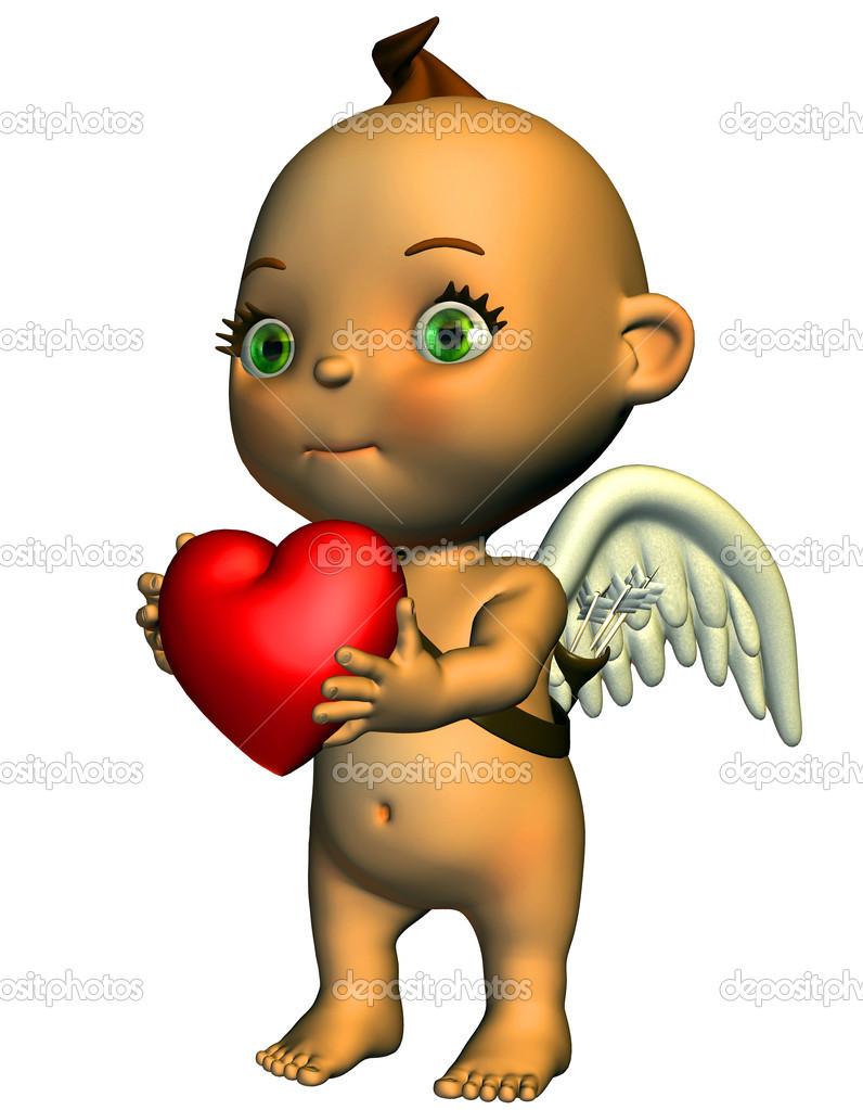 3d render love angels in the comic a Style than illustration — Stock Photo #4091056