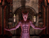 Devil in front of a dark Shrine — Stock Photo