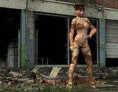 Flowerpower девушка перед руина — Стоковое фото
