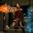 Sorceress with fireball - Stock Photo