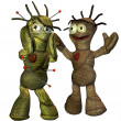 Two voodoo  dolls in scene — Stock Photo