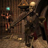 Skeleton warriors in the Dungeon — Stock Photo