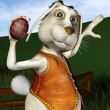 Stock Photo: Easter Bunny at egg toss
