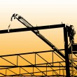 Assembling iron construction-silhouette worker — Stock Photo