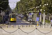 Orange tram in Milan, Italy — Stock Photo