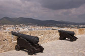 Old medieval cannon in ibiza fortress — Stock Photo
