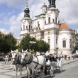Horse drwan carriage Prague - Stock Photo