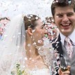 Bride and Groom in confetti shower - Stockfoto