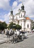 Horse drwan carriage Prague — Stock Photo
