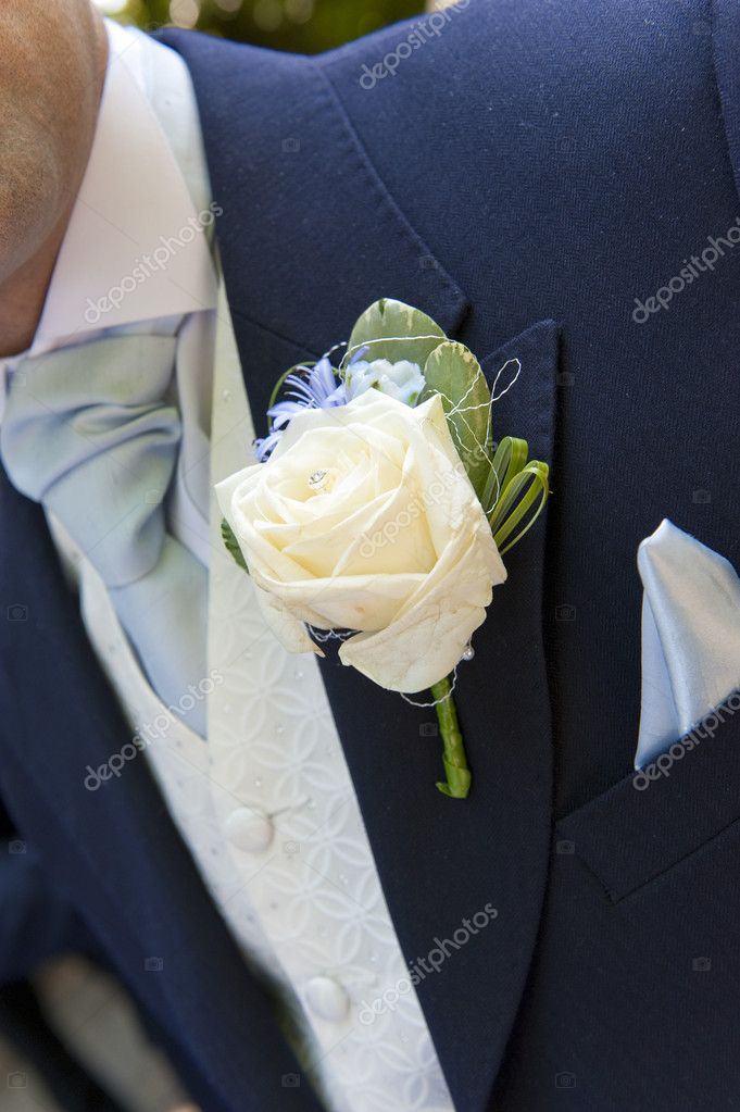 Close up of a grooms button hole — Stock Photo #4018652