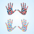 Royalty-Free Stock Photo: Abstract color full hands