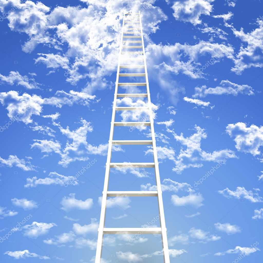 Single ladder move to ward the sky — Stock Photo #4019774