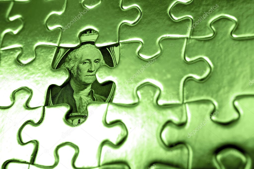 U.S. one dollar and jigsaw puzzle — Stock Photo #4016006