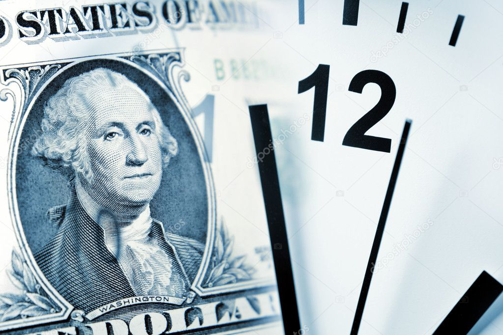 Clock and banknote. Time is money concept  — Stock Photo #4018339
