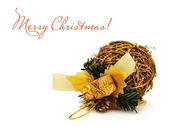 Golden Christmas ball made of willow on the white — Stock Photo