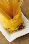 Tagliatelle pasta and spaghetti — Stock Photo