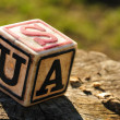 Cube with letter usa — Stockfoto