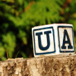 Stock Photo: Cube with letter ua