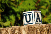 Cube with letter ua — Stock Photo