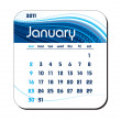 Stock Vector: 2011 Calendar. January.