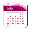 Stock Vector: 2011 Calendar. July.