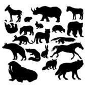 Silhouettes d'animaux sauvages — Vecteur