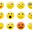 Stock Vector: Smileys different emotions