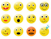 Smileys different emotions — Stock Vector