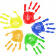 Colorful hand prints — Stock Vector