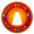 Happy Birthday label — Stock Vector