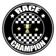 Race Champion label - Stok Vektör