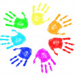Rainbow hand prints — Stock Vector