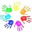 Stock Vector: Rainbow hand prints