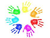 Rainbow hand prints — Stock Vector