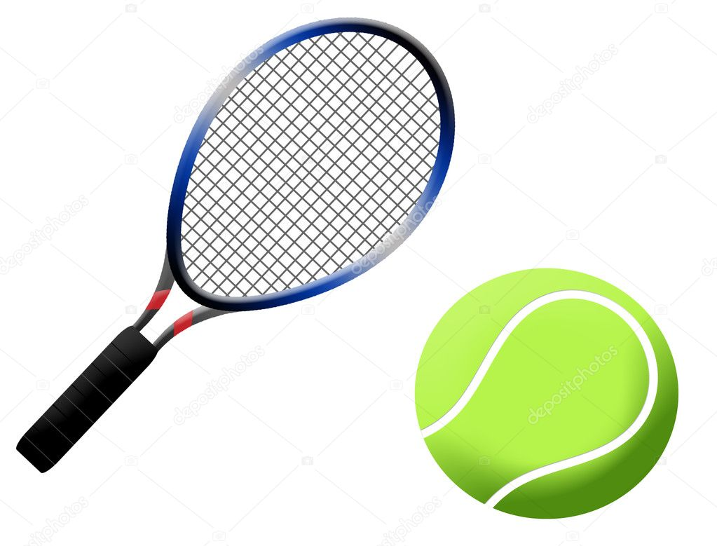 Tennis racket and ball vector illustration, on white background  Stock Vector #4180555
