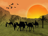 Bedouins with camels background — Stock Vector