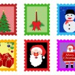 Christmas post stamps — Stock Vector