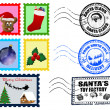 Christmas Postmarks and Stamps — 图库矢量图片
