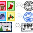 Christmas Postmarks and Stamps — Stock vektor