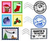 Christmas Postmarks and Stamps — Stock Vector