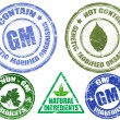 Set of various grunge stamps  GM and NON-GM - Stock Vector