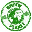 Green planet stamp — Stock Vector