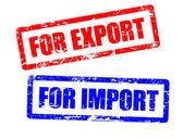 Para importación y sellos de exportación — Vector de stock