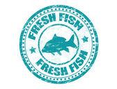 Sello de pescado fresco — Vector de stock
