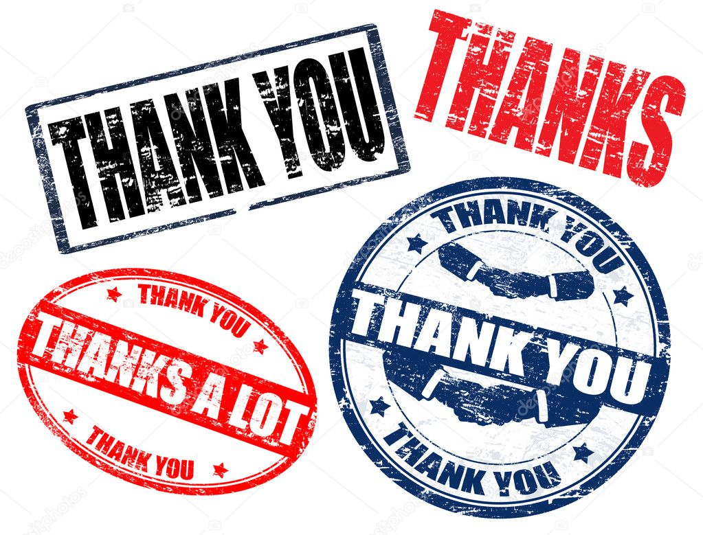 Set of grunge rubber stamps with the text thank you written inside, vector illustration — Stock Vector #4437473