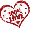 100% love stamp — Stock Vector