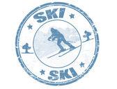 Ski stamp — Stock Vector
