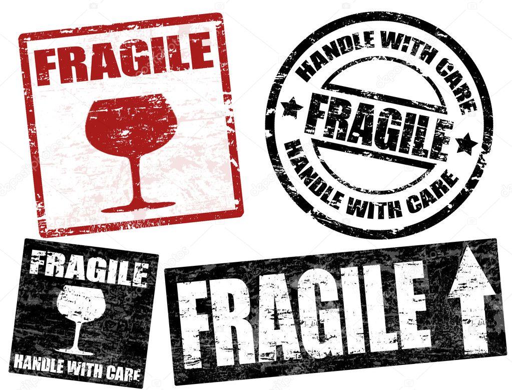 Fragile stamps — Stock Vector © roxanabalint #4622265