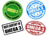 Omega 3 stamps — Stockvector